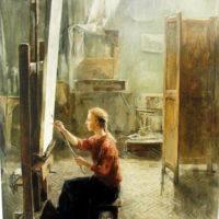Omakuva ateljeessa, öljy, 2000.