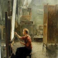 Omakuva ateljeessa, taidemaalari, öljy, 200x140cm, 2000