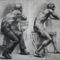 Piirustustehtävä, hiili,1997.