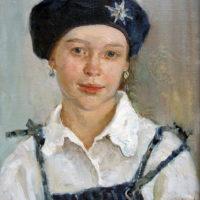 Tyttö sinisessä baskerissa, öljy, 1997