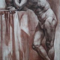 Nojaava miehen malli, hiili,1998.
