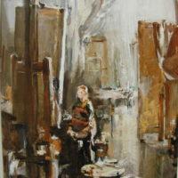 Omakuva ateljeessa. Luonos. öljy, 1999.