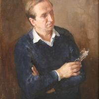 Miehen muotokuva tummalla taustalla, öljy, 2001