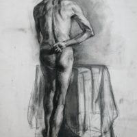 Malli selän puolelta, hiili,1998.