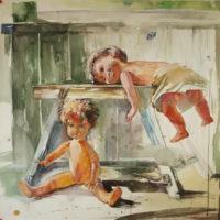 Ullakon nuket, akvarelli, 2008