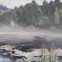 MYYTY. Aamu järvellä, öljy, 28x 35 cm, 2011.