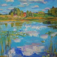 Elokuussa, öljy, kauniisti kehystettynä 58x48 cm, 2010. Hinta 480€