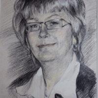Piirustus naisesta, hiili, 2013.