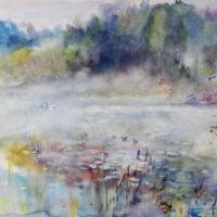 Joutsenaamu, akvarelli, kauniisti kehystettynä 100x120 cm, 2015. Hinta 1700 €