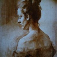 Tyttö niskan puolelta, hiili,1996.
