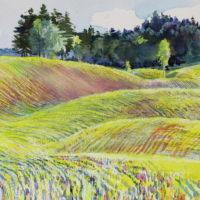 Kevään rytmi, akvarelli, pastelli, kauniisti kehystettynä 30x45 cm, 2015 . Hinta 400€