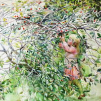 Minun marjani, akvarelli, kauniisti kehystettynä 100x 120cm, 2008. Hinta 1200€.