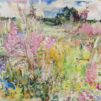 Sudenkorentoniitty, akvarelli, kauniisti kehystettynä 100x 120cm, 2008. Hinta 1200€.