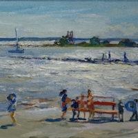 Lapset rannalla, öljy, 24x18cm. Hinta 370€