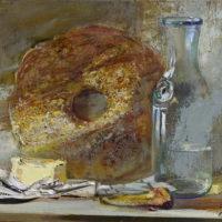 Vetta, leipää, voita, öljy kankaalle 2017, 30x40 cm.