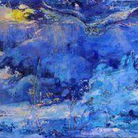 """""""Sinisessä lumessa"""", öljy kankaalle, 70x90 cm, 2018. Hinta 1500€"""