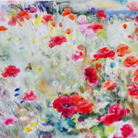 """Tuulen unikot"" , akvarelli 90x120 cm, kaunisti kehystetty 100x120 cm,2014, 1250€"