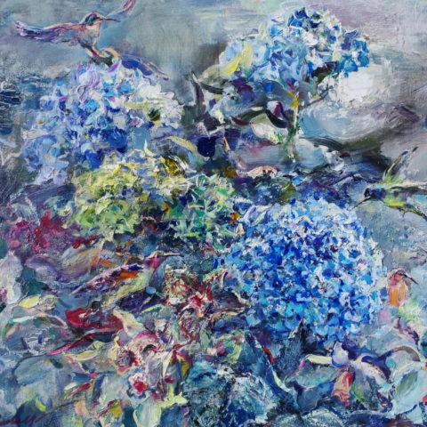 Paratiisin linnun yöpuutarhassa, öljy kankaalle, 50x60 cm, 2018, 540 €