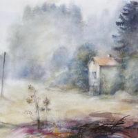 Äänetön, akvarelli, kaunisti kehystettynä 75x105cm, 2017, 1050€