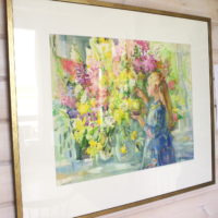 Hinta 1300 €. Perhoisia, akvarelli 90x70, kehystettynä 100x120 cm, 2009.