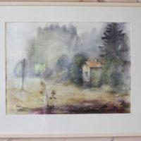 Äänetön, akvarelli, 68x100cm