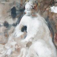 Yksityiskohta, Susanna, sekatekniikka, 180x60cm, 2018