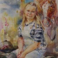 Nuori ratsastaja, akvarelli paperille, 40x34 cm, 2019