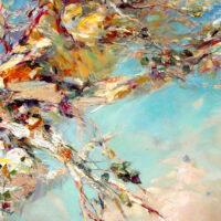 Hinta 3400 €. Vaaleapunaisten pilvien yllä, öljy, kollaasi ( luonnonperäiset materiaalit) kankaalle, 120x130 cm, 2020